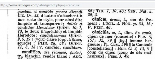 #canicule,constellation de la cznicule,etymologie,cnrtl,definition