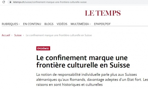 röstigraben,article,journal le temps,#confinement